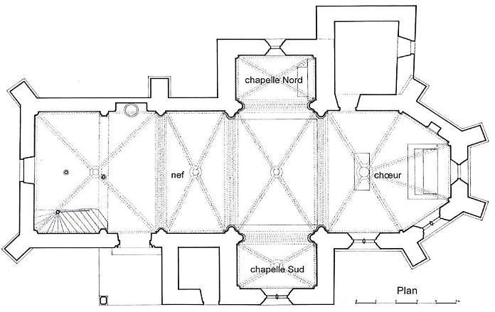 Plan de l'église fortifiées de Boussac